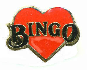 12 Pins - BINGO , player heart hat lapel cap pin #392