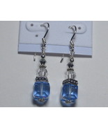 Swarovski earrings: Blue and silver cute cubes - $17.00