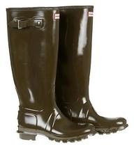 Hunter Original Tall Gloss Rain Boots Green Size 8 $150 New - $2.460,94 MXN