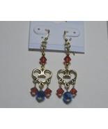 Swarovski chandelier earrings: Red and blue heart chandelier - $17.00