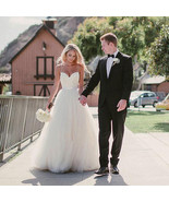 Sexy White Tulle Wedding Dresses A-Line Spaghetti Straps Bridal Gown Cus... - $159.00