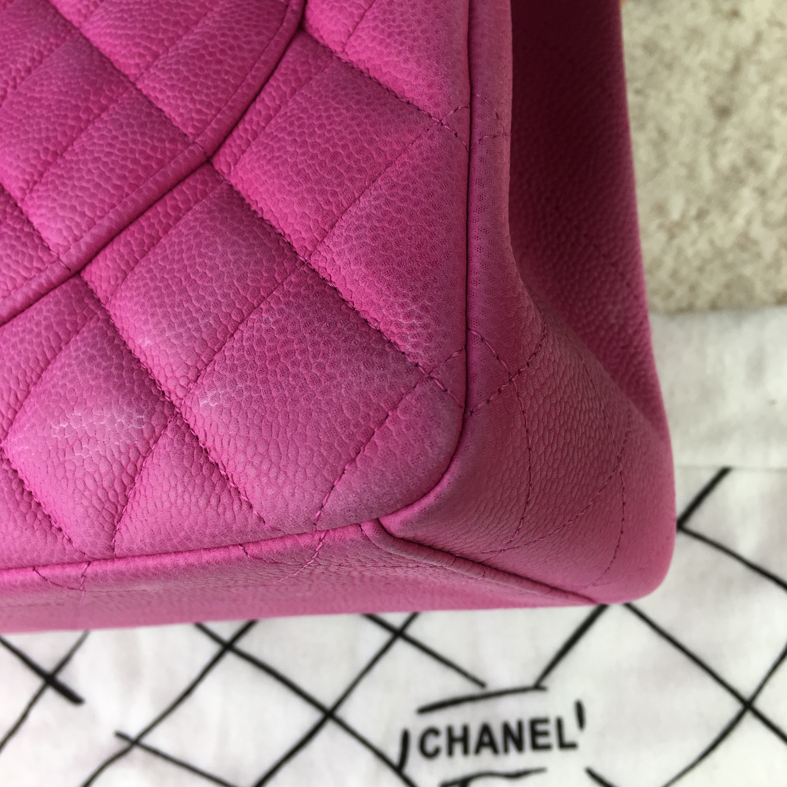 222d19825041 Authentic Chanel Hot Pink Fuchsia Maxi Caviar Leather Double Flap ...