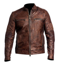 Mens Biker Vintage Motorcycle Cafe Racer Distressed Brown Real Leather Jacket - $179.99