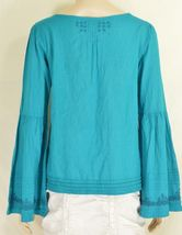 Free People top SZ S turquoise teal beaded long bell sleeves hippie boho gypsy image 3