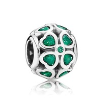 925 Sterling Silver Green Lucky Clover with CZ Openwork Charm Bead QJCB548 - $22.28