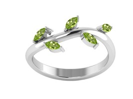 Peridot Gemstone Leaf Solid 925 Sterling Silver Ring Jewelry Sz 6 SHRI01272 - $13.48