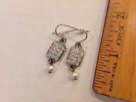 Long Dangling 12 Rhinestones Pave Faux Drop Pearl Earrings Posts Pierced... - $13.49