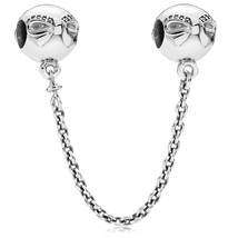 925 Sterling Silver Dainty Bow with Clear CZ Safety Chain Charm Bead QJC... - $28.68