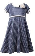 Little Girl 2T-6X Blue/White Wave Stripe Texture Knit Fit Flare Dress, Bonnie Je