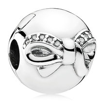925 Sterling Silver Dainty Bow with Clear CZ Clip Stopper Charm Bead QJC... - $20.99