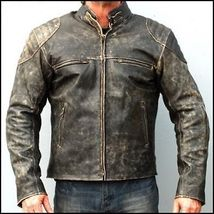 Mens Motorcycle Distressed Hooligan Leather Jacket Bikers Casual Fashion Vintage - $179.99