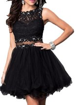 Fanmu Sleeveless Lace Tulle Short Homecoming Dresses Prom Gowns Black US 16 - $95.99