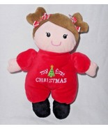 Baby Starters My First Christmas Girl Doll Brunette Brown Hair Red Sleeper - $14.83