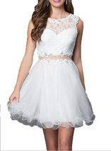 Fanmu Sleeveless Lace Tulle Short Homecoming Dresses Prom Gowns White US 12 - $95.99