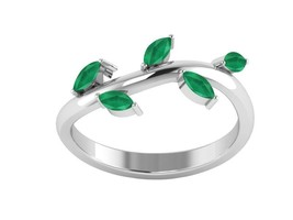 925 Sterling Silver Leaf Jewelry Ring  For Women In Royal Emerald Sz 7 S... - $19.50