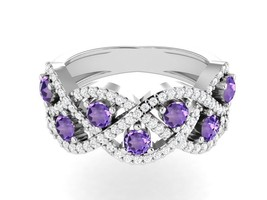 Gorgeous Amethyst CZ 925 Sterling Silver Women Ring Jewelry Sz 7 SHRI01286 - £15.79 GBP
