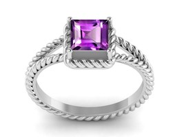 Classic Collection Shining Jewelry Amethyst Gemstone Sterling Ring Sz 7 ... - $12.19