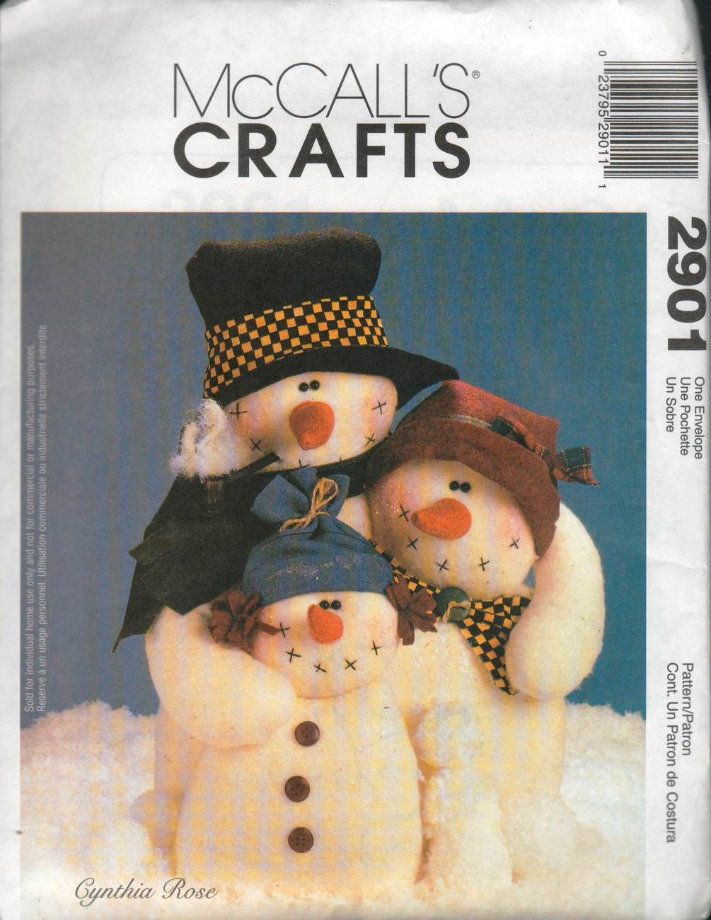 "McCall's Crafts Pattern 2901 - ""Snow Hugs"" Snow People"