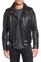 Custom Handmade Black Color Brando Bikers Leather Jacket For Men Made To... - $145.00+