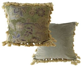 "FILLED LUXURY ROYAL GREEN GOLD TAPESTRY TASSELED CHENILLE THICK CUSHION 18"" - $428,66 MXN"