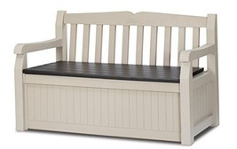 Garden Bench 2 Seater Storage Box Weather Resistant Wood Finish Lock Fur... - £121.00 GBP