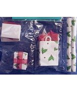 Dollhouse Shopping Bags Gift Wrap Boxes Christmas Green Holly Red Accent... - $10.60