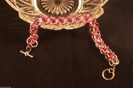 Chain Mail Bracelet Anodized Aluminum Elf Weave HOT PINK Gray B47 Free Gift Box - $17.36