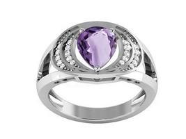Designer Amethyst Cubic Zirconia 925 Sterling Silver Women Ring Sz 7.5 S... - €22,18 EUR