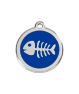 SMALL Dark Blue Fish Bone Pet Tag Identification Cat Animal Lost Safety ... - $14.49
