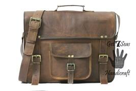 Messenger bag leather men's shoulder laptop satchel briefcase women vintage bags image 2
