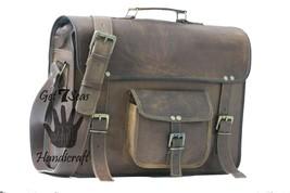Messenger bag leather men's shoulder laptop satchel briefcase women vintage bags image 3