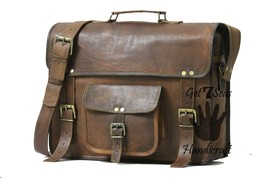 Messenger bag leather men's shoulder laptop satchel briefcase women vintage bags image 4