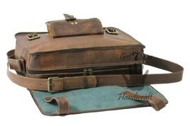 Messenger bag leather men's shoulder laptop satchel briefcase women vintage bags image 5