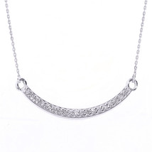 14k White Gold Smiley Face Curved CZ Necklace - $3.367,64 MXN+
