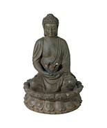 Meditating Buddha Antique Bronze Water Fountain with Light - $134.95