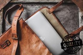 Leather computer bag men's shoulder satchel laptop women  briefcase vintage Bags image 2