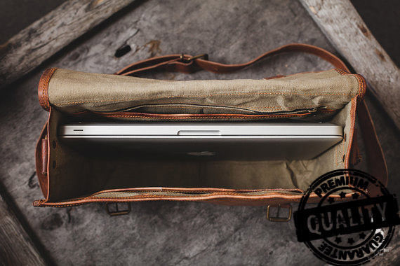 Leather computer bag men's shoulder satchel laptop women  briefcase vintage Bags image 5