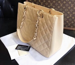 AUTHENTIC CHANEL QUILTED CAVIAR GST GRAND SHOPPING TOTE BAG BEIGE GHW  image 9