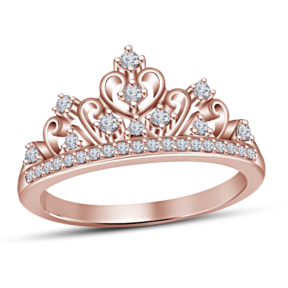 Primary image for Solid 925 Silver 14k Rose Gold Finished White Sim Diamond Princess Crown Ring