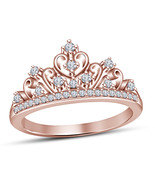 Solid 925 Silver 14k Rose Gold Finished White Sim Diamond Princess Crown Ring - £41.03 GBP
