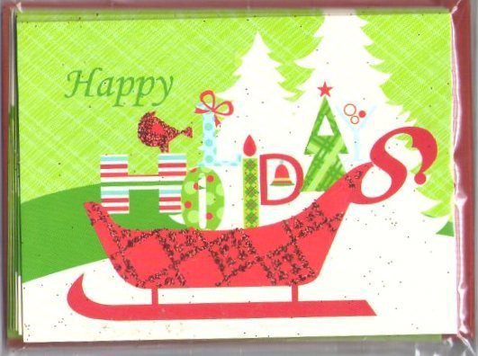 Happy holidays glitter cards