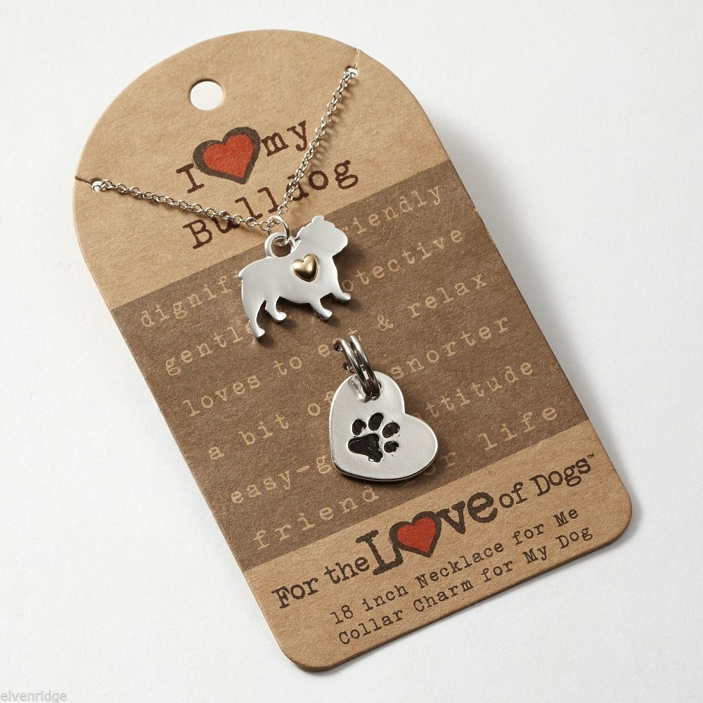 English Bulldog  Necklace w gold heart w heart charm for your dog's collar SET