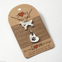 Golden Retriever Necklace w gold heart w heart charm for your dog's collar SET