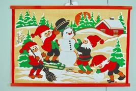 Vintage Scandinavian Tomte / Nisse Burlap WALL HANGING Snowman Christmas... - $34.64