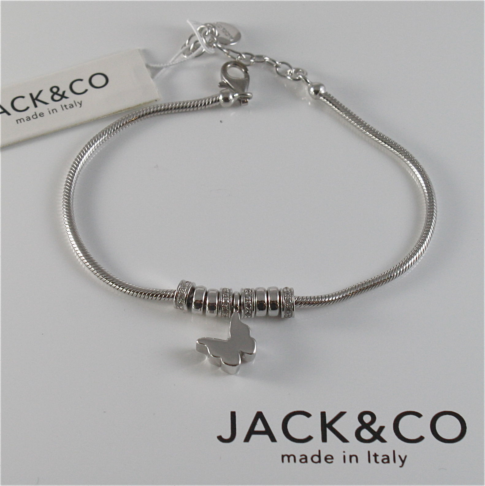 925 RHODIUM SILVER JACK&CO BRACELET WITH LUSTER SHINY BUTTERFLY MADE IN ITALY