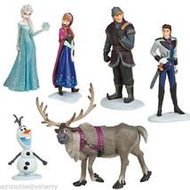 Disney Store Frozen Play Set Figure Elsa Anna Olaf Sven Kristoff Cake Toppers  - $49.95