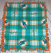 """Miami Dolphins Plaid Fleece Throw Blanket  56"""" x 68""""  NFL Football Teal Orange - $129.95"""