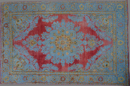 Overdyed Hand Knotted Vintage Persian Retro Chic Rug 295x192cm - $1,700.00