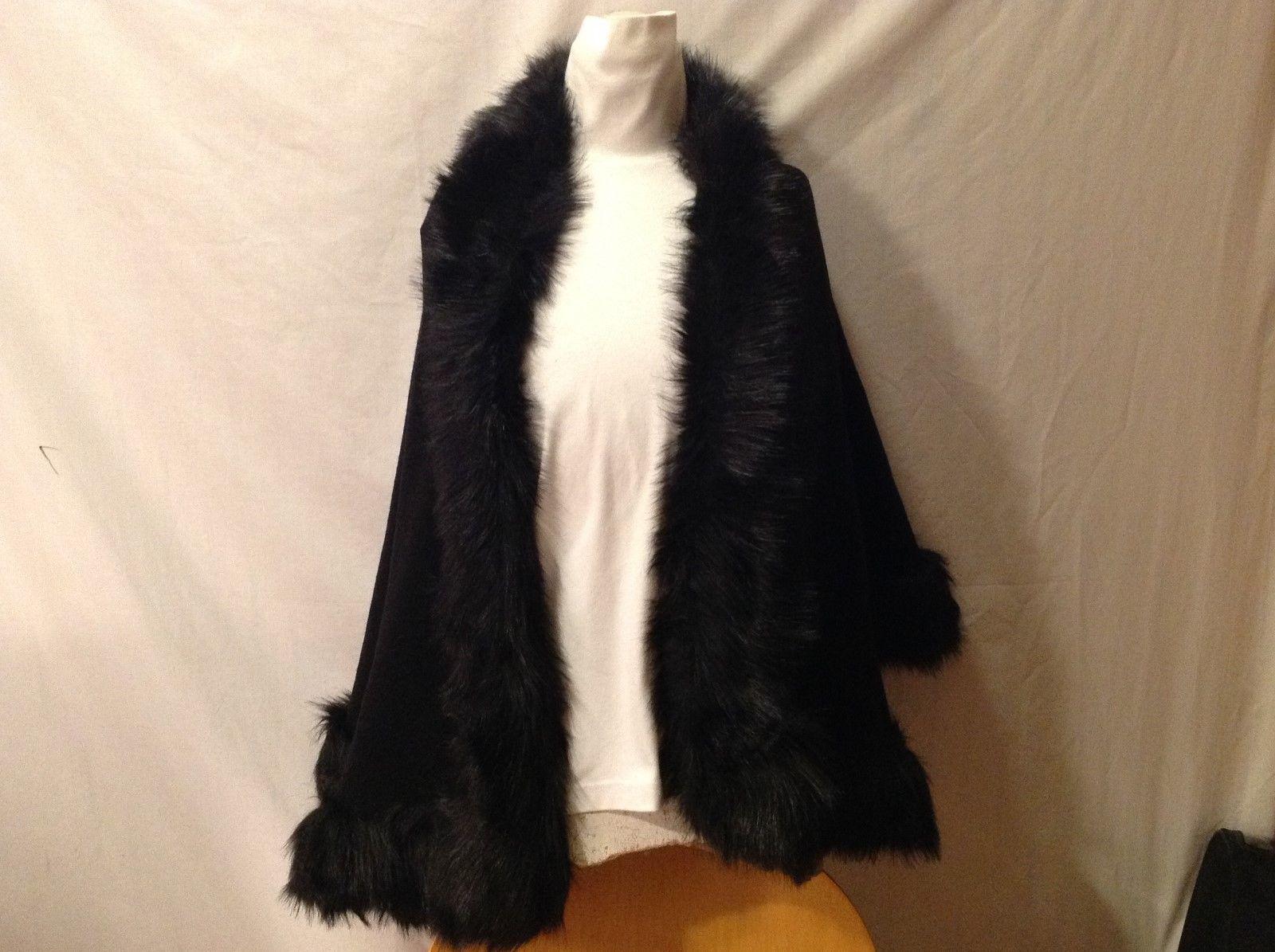 GORGEOUS Faux Fur Black Mink-Like Shawl/Cape/Drape