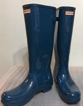 New Classic Hunter Tall Glossy Shiny Women Boots Blue Sz 5 Back Adjust - $130.89